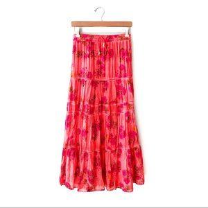 Raga | Tiered Floral Maxi Skirt Anthropologie